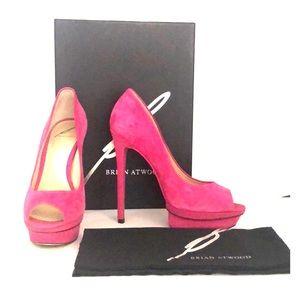 Brian Atwood Peep toe Heels - Fuchsia Pink